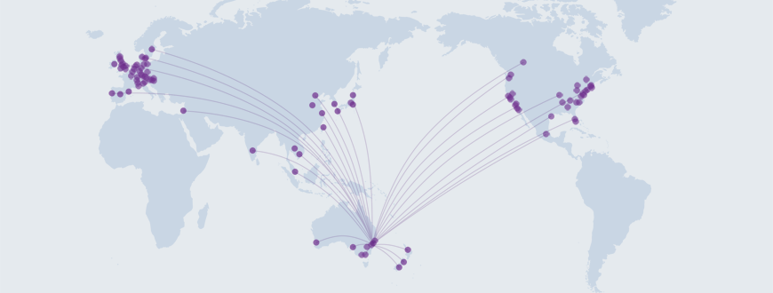 Map showing the location of organisations the Garvan Institute of Medical Research has around the world.