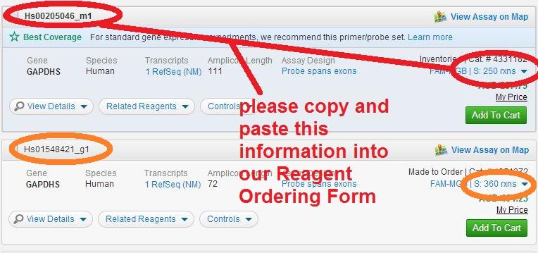 Taqman assay ID ordering