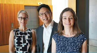 A/Prof Elgene Lim, with (L-R) Dr Christine Chaffer and Dr Liz Caldon.